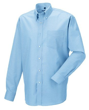 Pflegeleichtes Langarm Oxford Hemd,. 135 g/qm (White: 130 g/qm), 70 % BW, 30 % Polyester, pflegeleichtes Langarm Oxford-Hemd, verstärkter Button-Down-Kragen, rückwärtige Schulterpasse mit 2 an den Seiten eingelegten Falten, 1 aufgesetzte Brusttasche, a... (Hemd Baumwolle Falten)