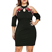 Vestidos de Fiesta Mujer Elegante, Mini Vestido para Mujer de Tallas Grandes Applique Bordado de