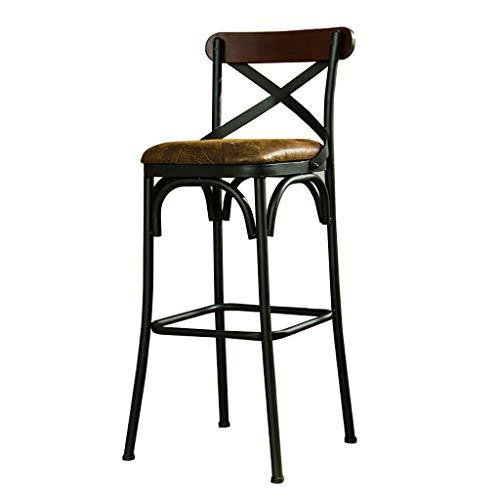 rstuhl mit Lehne und Fußstütze Holz Tresenhocker für Bartisch Küche Pub Bar Stuhl Hochstuhl Barstühle   Schwarze Metallbeine Kunstleder Sitz ()