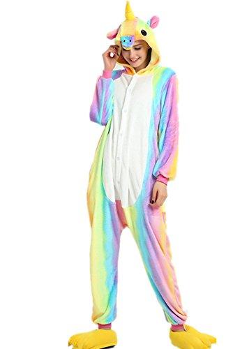 Vinecrown adulti costumi pigiama unicorno anime cosplay halloween costume animale pigiami e camicie da notte attrezzatura travestimenti (s for 150cm- 160cm, arcobaleno)
