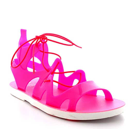 Womens Lace Up Jelly Ankle Summer Holiday Beach Cut Out Gladiator Sandals - Fushia - UK5/EU38 - PN0072 -