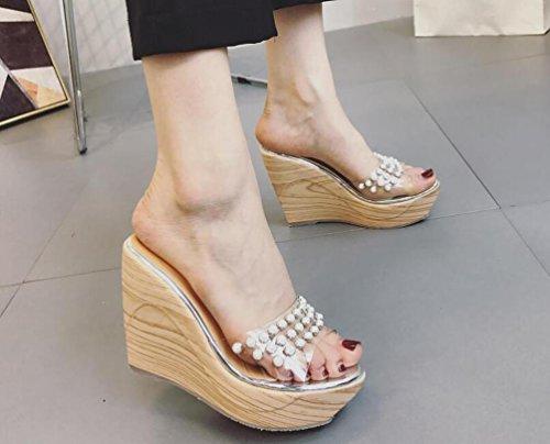 Wedge OL matrimonio piattaforma antiscivolo pantofole Transparente superiore Perle Artificiali Wearable Elegante Donna Casual Mocassini EU Taglia 34–39 Gold