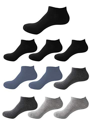 Likarulla Lot de 6 ou 10 paires Chaussette Hommes et Femmes chaussettes sport courtes Coton socquettes(4 noir 2 gris 2 bleu 2 gris foncé,40-44)