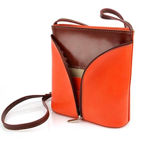 69fe932c924b9 ... Vera Pelle Handtaschen Italien Echt Leder Schultertasche Frauen Damen  Tasche Handtasche Ital Bag Orange Braun Plain ...