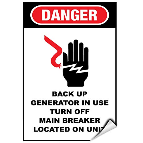 Label Decal Sticker Danger Backup Generator In Use Turn Off Main Breaker On Unit Durability Self Adhesive Decal Uv Protected & Weatherproof - Main Breaker