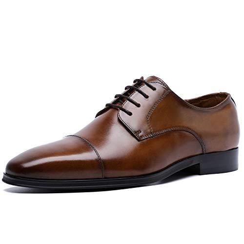 DESAI Herren Business Derby Schnürhalbschuhe (Braune Leder Herren Schuhe)