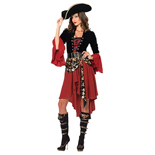 CTOOO 2018 Damen Weibliches Piratenkostüm Halloween-Kostüm Cosplay Rot
