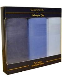 3 lots de mouchoirs unis, teints, pour hommes/gentlemen, de couleurs variées