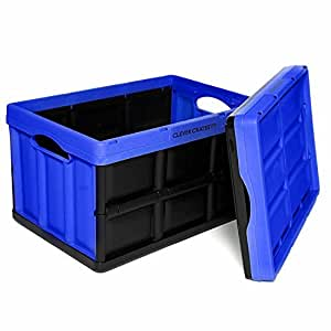 Clever Crates Really Useful Boxes, Blue, 46 Litre, Collapsible storage boxes, really useful storage boxes with a massive weight capacity of 40 KG! Folding storage box, providing stackable plastic storage boxes. Ideal for toy storage, shoe storage and much more by Clever Crates