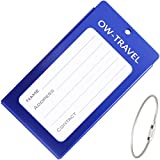 ✅ INDESTRUCTIBLE Metal Luggage Tag Business Card ID Holder - Go Anywhere Tags for Suitcases Backpacks Rucksacks Baggage Briefcases - Quality Flight Accessories & Gifts by OW Travel (Dark Blue)
