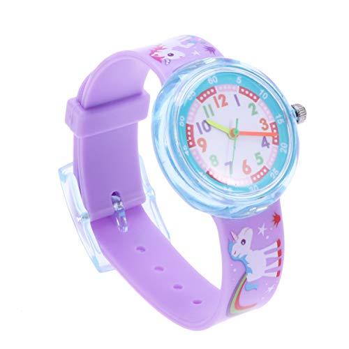 Hemobllo Reloj para niños Lindo Unicornio de Dibujos Animados Reloj de Silicona Resistente al Agua...