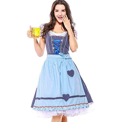 syeytx Damen Kleid 4PC Beer Festival Maid Kleid Karneval Oktoberfest Kostüm Bayerisches Verband-Schürze Bier Mädchen Drindl Tavern Maid Kleidung Cosplay Kostüme (Ich Liebe Bier Kostüm)