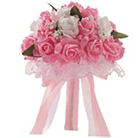 Hunpta - Ramo de novia de flores de seda artificiales con rosas de cristal, perlas para dama de honor, rosa
