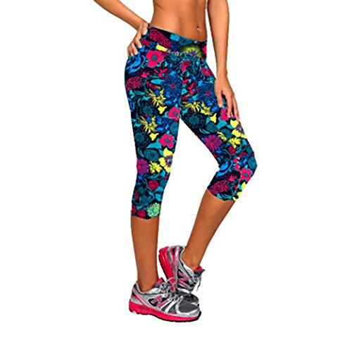 iBaste Leggings de Sport Femme imprimé Jogging Yoga Pantalons 3/4 Capri Pantacourts Style 14