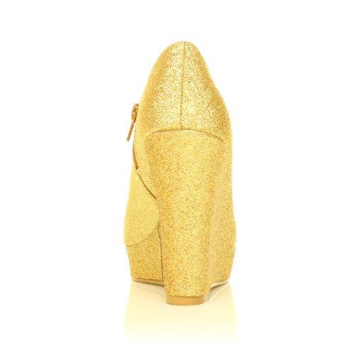 H051 Scarpe con zeppa e piattaforma colore dorato brillantini dorato brillantini