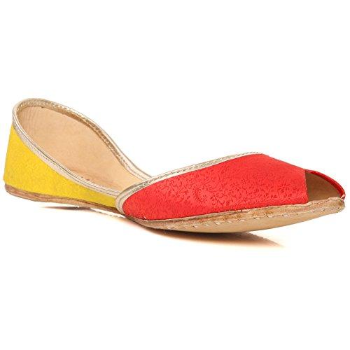 Oz Novas Mulheres Tamanho Tradicional 'amaan' Sapatos Chinelos De Couro Artesanal Bomba Khussa Plana 3-8 - Un-34 Vermelho
