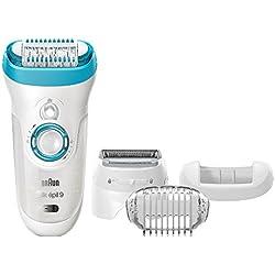 Braun Silk-épil 9 9-541 - Depiladora para mujer en seco o mojado, Wet&Dry, sin cable, máquina de depilar con 4 extras (cabezal de afeitado y peine de recorte), blanco/azul