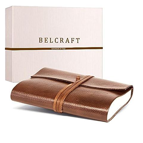 Tivoli A5 Journal Intime / Carnet de Notes en cuir recyclé de fabrication artisanale Italienne, Cadeau Spécial, Journal de Voyage, Notebook A5 (15x21 cm) Brun Clair