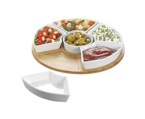 Esmeyer Caterado Drehbares Serviertablett SUSAN mit 6 Schalen aus weißem Porzellan und einem Tablett aus Bambus