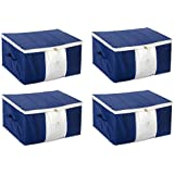 HomeStrap Non-Woven Big Underbed Storage/Bag with Window (Blue, HSHSHSUBSNWFWINBLUE4PC-Part) - Pack of 4 Pieces