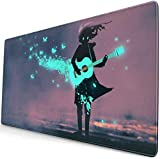 Mousepad Girl Playing Guitar Blue Light Butterflies Gaming Mouse Pad Mouse Mats Anti-Slip Rubber Base Mousepads Mat for Computer Laptop Home Office Game Desk 15.8 X 29.5 inch