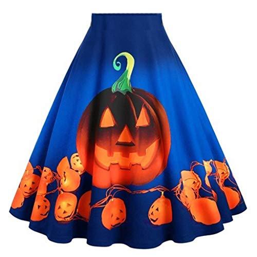Halloween Röcke Oversize Kürbis-Drucken Kleid Kurz,Petticoat Damen