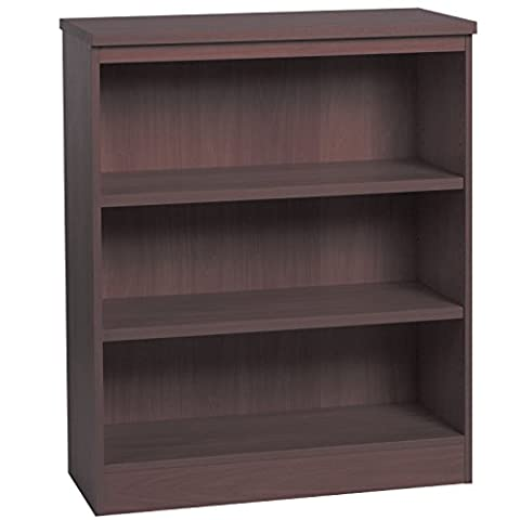 Home Office Furniture UK Bookcase No Assembly Required Bookshelf Files, Wood, Walnut, wood Grain Profile