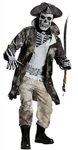 Herren Kostüm Ghost Pirate 3D Halloween Totenkopf-Maske böse Horror Geist Pirat, Größe:L/XL