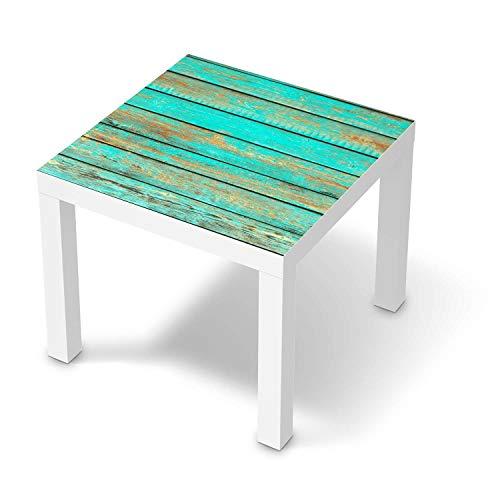 creatisto Wandtattoo Möbel passend für IKEA Lack Tisch 55x55 cm I Möbelaufkleber - Möbel-Tattoo Sticker Aufkleber I Wohnen und Dekorieren für Wohnzimmer und Schlafzimmer - Design: Wooden Aqua
