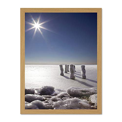 Wee Blue Coo LTD Frozen Water Sun Ice Photo Art Large Framed Art Print Poster Wall Decor 18x24 inch