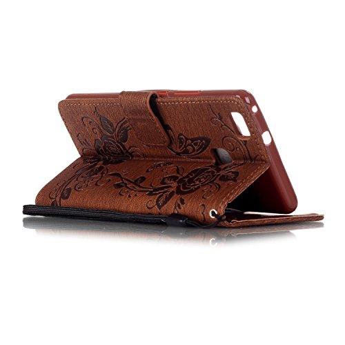 Etsue Custodia Huawei P9 Lite in Pelle Portafoglio,Verde Copertura,Flip Wallet Libro Protettivo Case Cover di Creativo Pattern Design Con magnetico Chiusura Per Huawei P9 Lite+Blu Pennino e scintillio Marrone