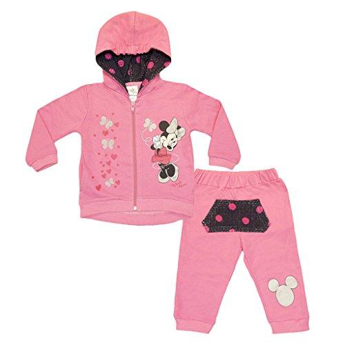 Minnie Mouse süßer gefütterter Jogginganzug für Mädchen Size 80, Farbe Fruit Pink (Minnie Mouse Kapuzenjacke)
