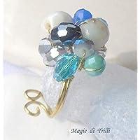 Magie di Trilli - Anello artigianale donna in filo per gioielli dorato, con cristalli azzurri, blu, bianchi; regolabile - Idea regalo San Valentino