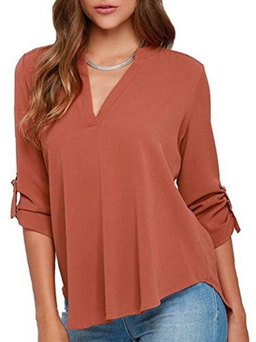 LILBETTER Damen Blusen Sommer Casual V-Ausschnitt Langarm Lose Chiffon Blusen T-Shirt Tops(Orange L)
