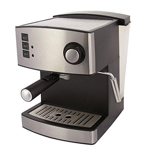 Macchina automatica per caffè espresso e cappuccino, con erogatore di vapore per fare la schiuma, effetto acciaio INOX, 15 bar