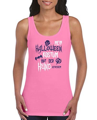 Comedy Shirts - Mein Halloween Kostuem hat der Hund gefressen - Damen Tank Top - Pink/Lila-Weiss Gr. XL