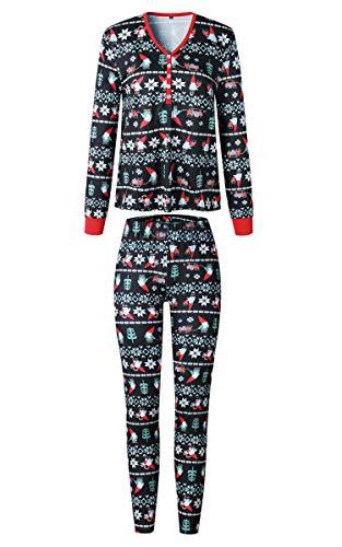 ECOWISH Weihnachten Schlafanzug Familien Outfit Mutter Vater Kind Baby Pajama Langarm Nachtwäsche Print Sleepwear Top Hose Set 160 Mama M