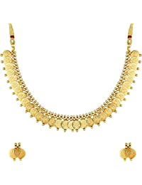 ca127370910 Meenaz Gold Plated Laxmi Temple Coin Necklace With Earrings Set For Women