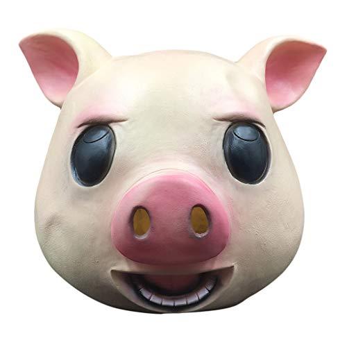Finebuying Komische Maske Happy Pig Mask - Halloween Party Lustige süße Latex Tierkopf Maske Maskerade Schweinkopfmaske Tier Cosplay Kostüm Die Latexmaske (Gelb) (Masken Süße Maskerade)