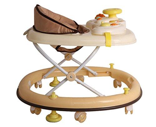 OGTOP 2017 Baby Kinder Baby Walker 6 / 7-18 Monate Multifunktions-Anti-Rollover Stille Rad Mit Musik,Beige-OneSize