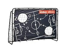 Hudora - Porta da Calcio per Bambini e Adulti, Edizione Matchplan - Porta da Calcio da Giardino con Parete da Portiere, Design Esclusivo Kicker, Nero, 213 x 152 x 76 cm