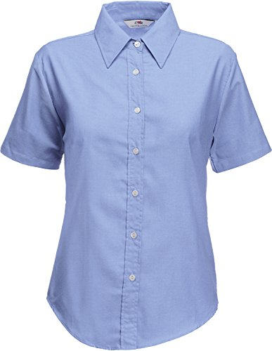 Fruite of the Loom Damen Lady Fit Kurzarm Oxford Bluse, vers.Farben XL,Oxford Blau (Blaue Kurzarm-jacke)