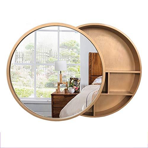 Xing Hua home Wand-Spiegel Bad Spiegelschrank Badezimmerspiegel mit Regal Schrank Wand-Make-up Eitelkeit runden Spiegel (Color : Gold, Size : 60cm) -