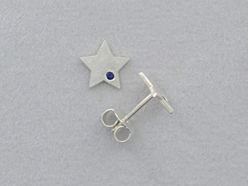 kleine flache Stern-Ohrstecker, blauer Saphir, 925 Silber (Stein Poliert, Flacher)