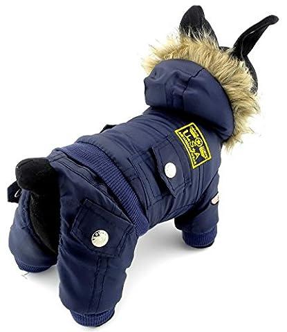 selmai Bekleidung für kleinen Hund (Weibchen/Männchen), Fleece-Fell-Schneeanzug mit Kapuze, für Winter, Overall, wasserdicht