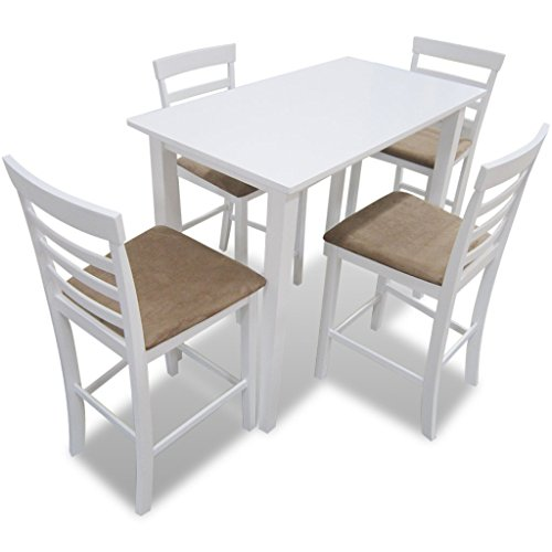 Festnight Ensembles de meubles de salle à manger table et 4 chaises de bar en bois coloris blanc