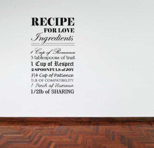 Receta Para Amor Frase En Una Calcamonía Mural Adhesivo Cocina Dormitorio Romántico Inspirador - Negro mate, Grande