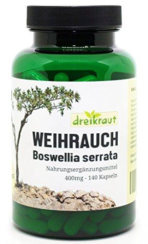 Weihrauch-Kapseln - 400mg, Boswellia Serrata, 140 Stück - hochdosiert, frei von Zusätzen, rückstandsgeprüft, 100% Indischer Weihrauch,...