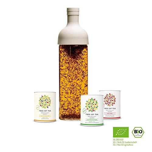 mymuesli Eisteeflasche Probierpaket - Tree of Tea - 3x Bio-Blatt-Tee - 750 ml Eisteeflasche - Geschenkverpackung - Bio-Tee von Tree of Tea