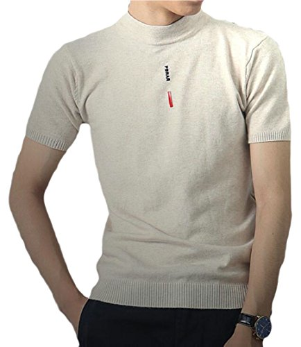 CCK-UK-DE Mens Slim Fit Mock Neck Short Sleeve Knit Tee Shirt 1 XL